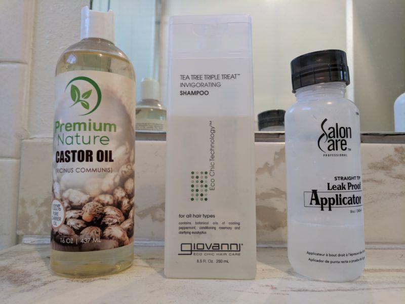 Castor OIl, Tea Tree Shampoo, and Applicator Bottle