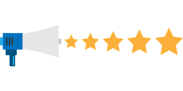 stock image of megaphone shooting out 5 stars